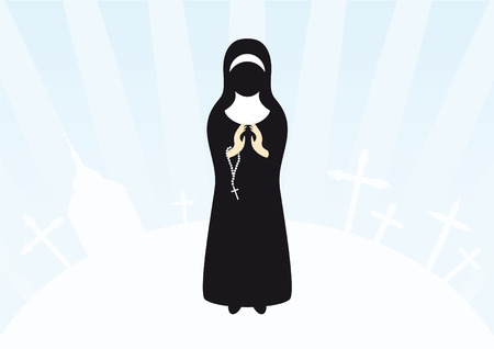 nun: Illustration of praying nun. Christian background with a nun and holy icons. Clasped hands in prayer. Illustration