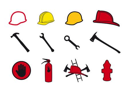 bombera: iconos de seguridad colección. Conjunto de iconos para los bomberos y los artesanos. Herramientas y equipos de protección para un trabajo seguro. Vectores