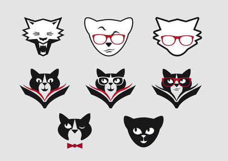 clever: Vector icons of smiley cat faces. Set icons clever cats. Cute cat expressions. Set of intelligent lettered cats. Cat with a book. Cat with glasses.