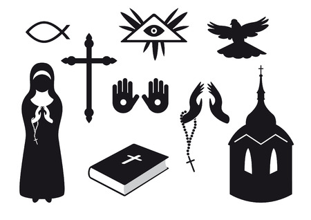 believers: Black and white Christian icons. Set of Christian symbols. Traditional symbols of believers Illustration
