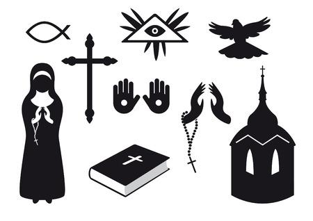 catholic mass: Black and white Christian icons. Set of Christian symbols. Traditional symbols of believers Illustration