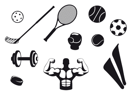 sports equipment: Set black and white sport icons. Various types sports equipment. Icons for the various types of sports. Sports Icons with white background.