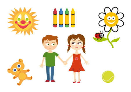 set series: Set of child elements. Playing children Cartoon vector set. Series of childrens icons. Cute illustration of children.  Vector children world.