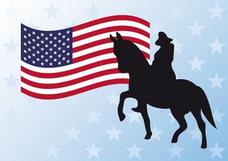 george washington: ilustración vectorial bandera de Estados Unidos. Monumento a George Washington en Boston. vector de fondo festivo.