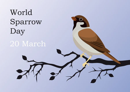 endangered species: World Sparrow Day. Beautiful vector illustration of the date of sparrows. Holiday background with bird. Illustration protect the environment.