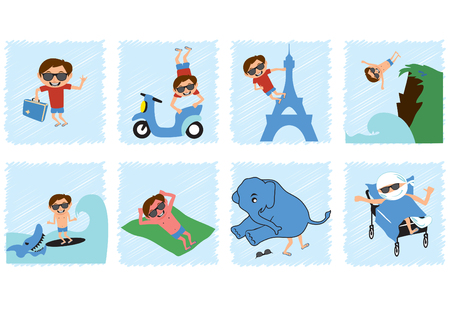 Funny comic with a careless guy. Picture story about a summer vacation. Humorous illustration of a travel. An example of what not to do on holiday.