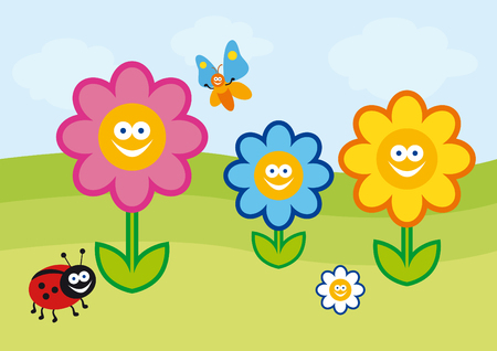 Funny spring illustration. colorful flowers. Crazy colorful cartoon flowers. Childrens Summer colorful drawing.