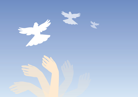 tranquillity: Dreamy blue background. illustration dream with hands and doves. Soothing magic image.