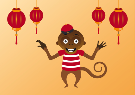 merriment: illustration of a happy Asian monkey. Asian orange background with a monkey and Chinese lanterns.