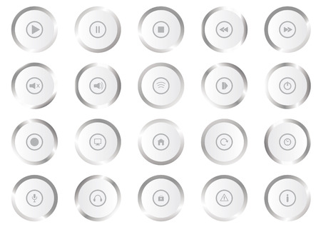 playback: Multimedia icons. Set realistic metallic buttons. Play icons. Set of play icons on white background. Collection of metal buttons Illustration