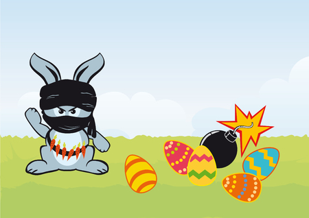 cartoon easter: Funny easter bunny.Cartoon Character Rabbit. Easter cartoon. illustration of Easter. I hate Easter. Happy Easter illustration. Bunny and Easter Eggs. Cute bunny with carrot. Funny illustration. Easter surprise