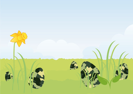 seek: Masked Easter eggs. You cant get them! Funny Easter illustration. illustration of Easter. Happy Easter illustration. Hide and seek with eggs. Easter surprise. Spring Easter landscape