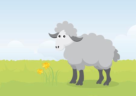 pasen schaap: Pasen lam op een veer illustratie. De illustratie van Pasen. illustratie van Pasen. Happy Easter illustratie. Pasen van de lente landschap. Pasen lam. Schapen op de weide Stock Illustratie
