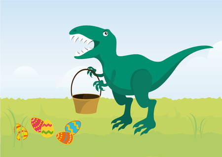 rex: Angry Easter T rex. Cartoon character T rex. Easter dinosaur. Funny Easter illustration. Easter cartoon. illustration of Easter Illustration