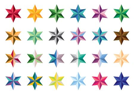 series: Set of colored stars. Collection of stars. Series stars on a white background