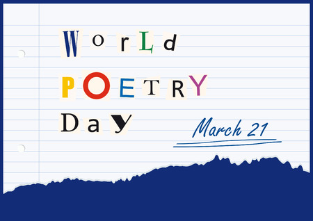 threatening: World Poetry Day as threatening letter. illustration of the world poetry day. Festive card. Festive illustration