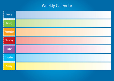 weekly: Weekly calendar. Planning calendar. Colorful calendar for one week. Illustration