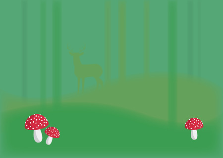 magical forest: Magical forest with toadstool. Beautiful forest background. Illustration of trees and toadstools Illustration