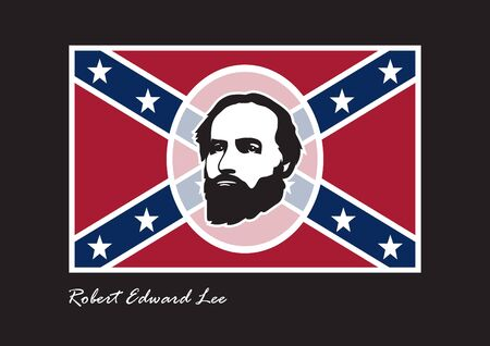 general: General Robert Edward Lee. The supreme commander of the Confederate Army. Commander in the American Civil War. Lee s Birthday, Lee Jackson Day. Background with confederate flag