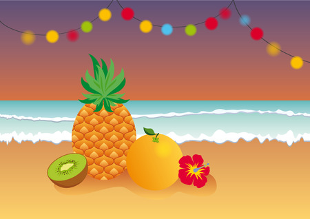 contentment: Tropical evening at the beach. Summer tropical fruit illustration.
