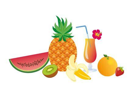 mix fruit: Set of tropical fruits. illustration of exotic fruits. White background with fruits. Still Life with Fruits. Summer fruit mix with a cocktail
