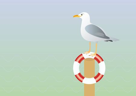contentment: Seagull and lifebuoy illustration. Background with a seagull. A lone seagull watching the sea
