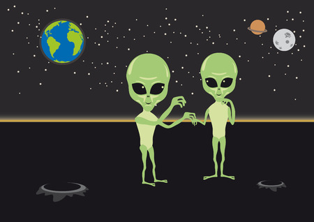 Alien cartoon character. Aliens under the night sky. Illustration love aliens