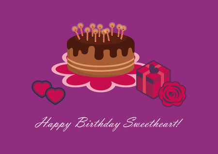sweetheart: Birthday card for sweetheart. Happy birthday sweetheart. Birthday illustration. card for darling