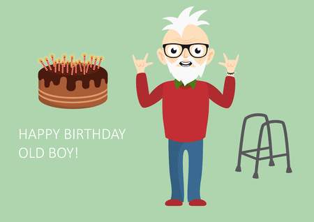 Happy birthday old boy. Funny birthday card for the still young. illustration for forever young boys. Age is just a number!