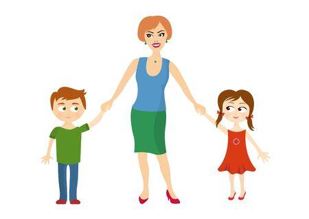 Mère tenir les mains des enfants. Illustration de la mère avec les enfants sur un fond blanc. Deux enfants avec sa mère
