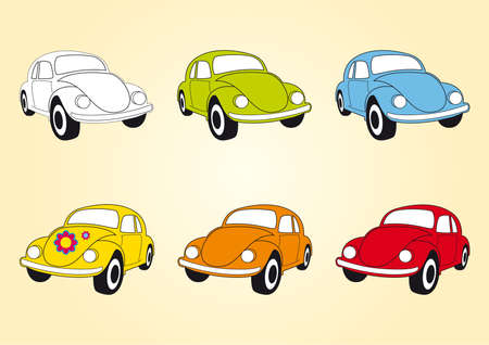 variants: Set of icons Beetle cars. Vector illustration of multicolored beetle car. Cute little car in different variants. Old hippie car