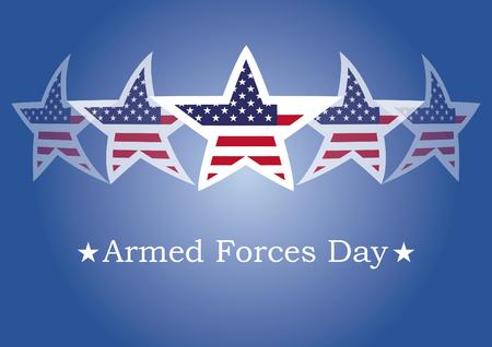 vecteur Journée des Forces armées. Arrière-plan avec le drapeau américain. Festive illustration vectorielle. Fond bleu avec des étoiles américaines Vecteurs