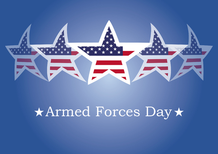 Armed Forces Day vector. Background with American flag. Festive vector illustration. Blue background with American stars Vectores