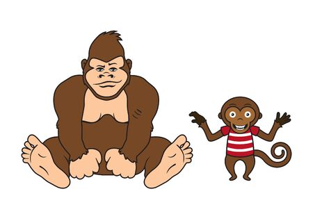 big foot: Two monkeys vector. Monkey on a white background. Cartoon character monkey Illustration