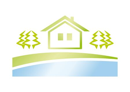 real estate agency: Green house icon. Green living in nature. Vector logo real estate agency