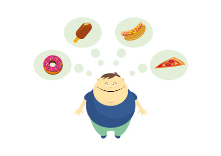 Fat guy thinks about food vector. Fat man on a white background. Funny illustration of fat man