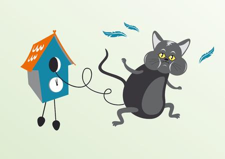reloj cucu: Gato en reloj de cuco. Funny ilustraci�n vectorial de gato en reloj de cuco. Gato personaje de dibujos animados. Gato con la boca llena