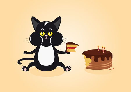 overeat: Cat and Cake. Cat caught in the act. Funny vector illustration of a cat with cake. Cartoon Character Cat. Cat with a mouthful