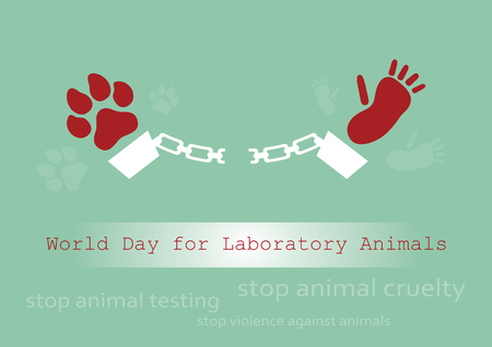 cruelty: World Day for Laboratory Animals. Vector illustration against cruelty to animals. Stop the cruelty. Stop animal testing