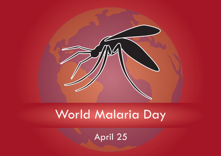 red earth: World malaria day vector. Vector illustration of a mosquito. Festive background to world malaria day. Red background with earth and mosquito