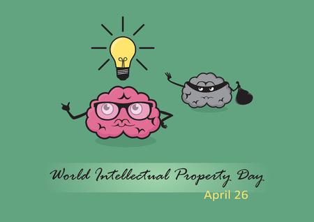 Giornata mondiale della proprietà intellettuale vettore. Illustrazione divertente della proprietà intellettuale. illustrazione vettoriale Comics