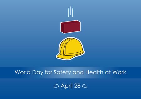 Werelddag voor veiligheid en gezondheid op het werk. Vector illustratie van een veiligheid op het werk. Blauwe achtergrond met helm en bakstenen