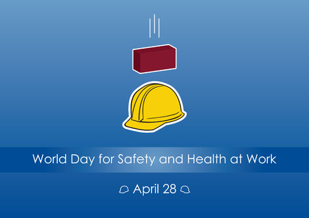health risks: World Day for Safety and Health at Work. Vector illustration of a safety work. Blue background with helmet and brick