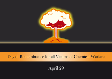 victims: Day of Remembrance for all Victims of Chemical Warfare. Vector illustration of explosion Illustration