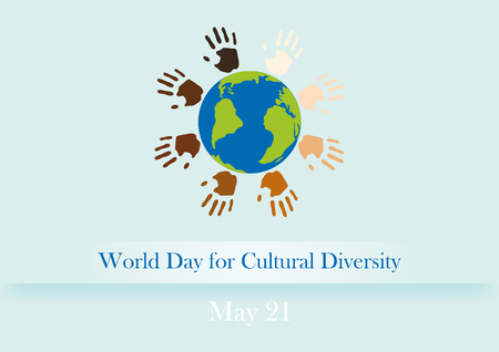 World Day for Cultural Diversity illustration Cultural Diversity Day. Background with Earth and colored hands Vectores