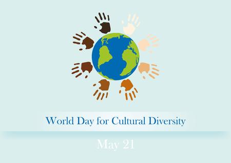 Werelddag van de Culturele Diversiteit illustratie Cultural Diversity Day. Achtergrond met aarde en gekleurde handen