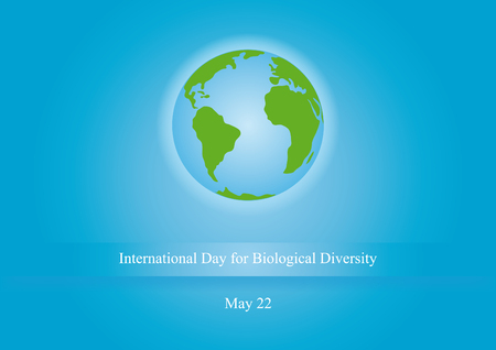 biological: International Day for Biological Diversity. illustration of planet earth. Blue background with planet Earth and sign