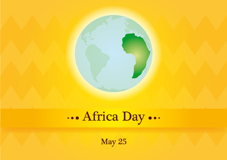 life event: Africa day. Orange background with the planet earth. illustration of a Africa Day
