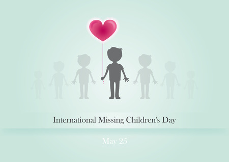 lost child: International Missing Children Day. illustration of a day of lost children. Child with a balloon on a green background