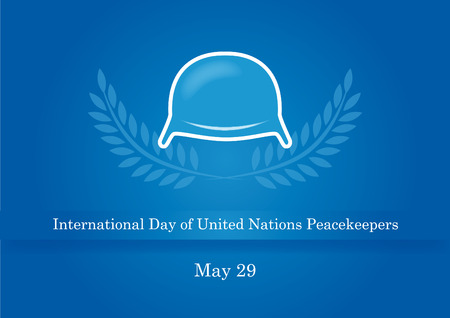 corps: International Day of United Nations Peacekeepers. Blue background with a military helmet. Illustration